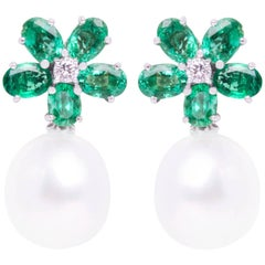 Ella Gafter Emerald South Sea Pearl and Diamond White Gold Flower Earrings