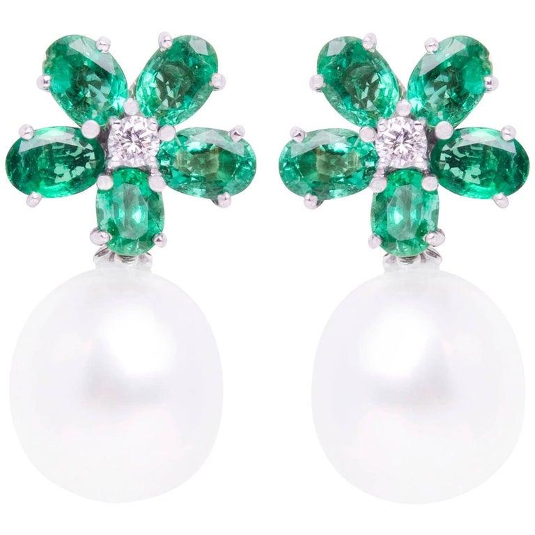 Ella Gafter Emerald South Sea Pearl Diamond Flower Clip-on Drop Earrings
