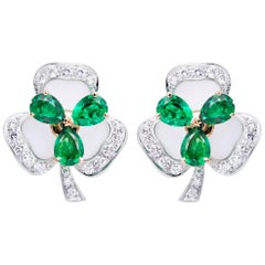 Ella Gafter Emerald and Diamond White Gold Clover Flower Earrings