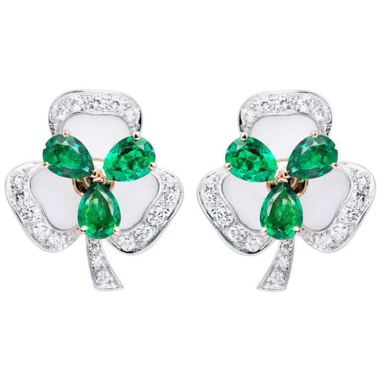 Ella Gafter Emerald and Diamond White Gold Clover Flower Clip-on Earrings