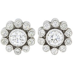 Tiffany & Co. Enchant Platinum Diamond Filigree Stud Earrings