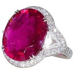 Rubelite, Diamond and Platinum Ring