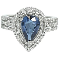 GIA Certified 2.04 Carat Natural Blue No Heat Sapphire Ring with Diamonds