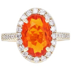 3.22 Carat Fire Opal Diamond Cocktail Yellow Gold Ring