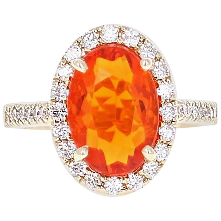 3.22 Carat Fire Opal Diamond Cocktail Yellow Gold Ring