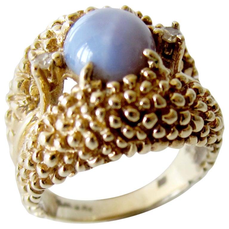 Gold Star Sapphire Diamond Textured Modernist Ring
