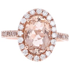 3.10 Carat Morganite Halo Diamond 14K Rose Gold Ring