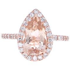 2.70 Carat Morganite Diamond Rose Gold Ring