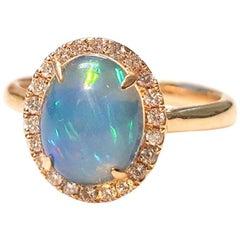 Ladies 14 Karat Yellow Gold Ethiopian Opal and Diamonds Ring