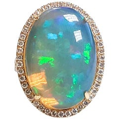 Ladies 14 Karat Yellow Gold Ethiopian Opal and Diamonds Ring