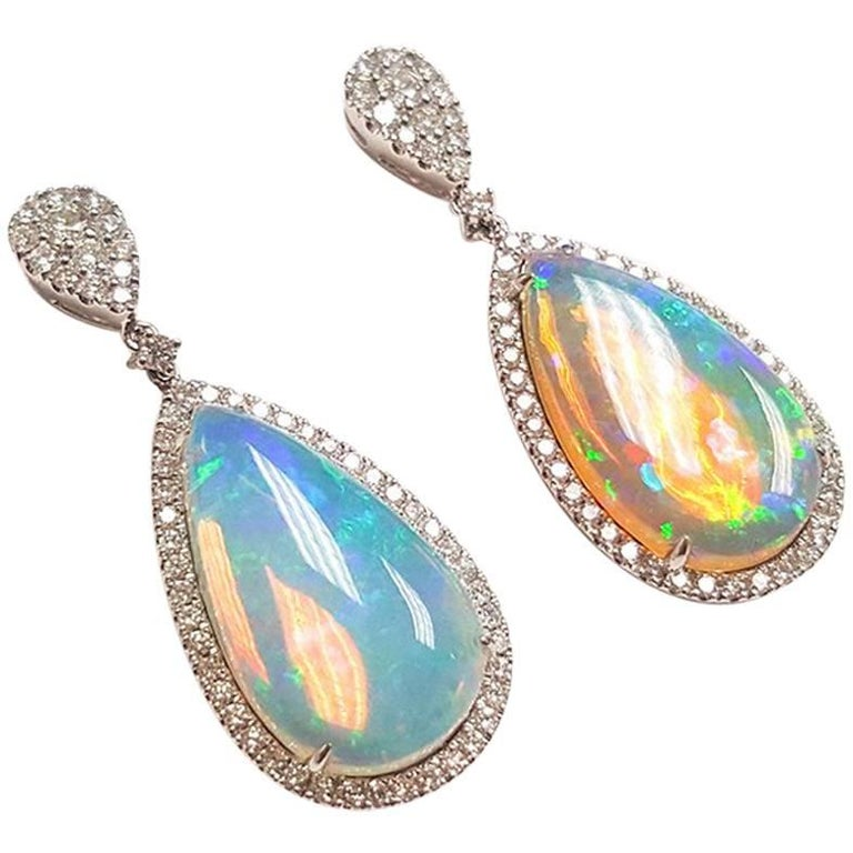 Ladies 14 Karat White Gold Ethiopian Opal and Diamonds Drop Earring