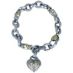 Judith Ripka, 2006 Year, 18 Karat Diamond Heart Bracelet and Removable Pendant