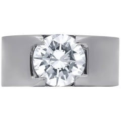 Platinum Men's 3.09 H VVS2 Round Diamond Ring