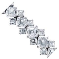 87.70 Carat GIA Certified Asscher Cut Diamond Platinum Bracelet