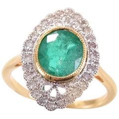 Emerald Diamond Two Tone 18 Carat Yellow White Gold Ring