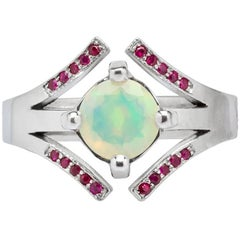 Athena Welo Opal and Natural Rubies Pave Cocktail Ring
