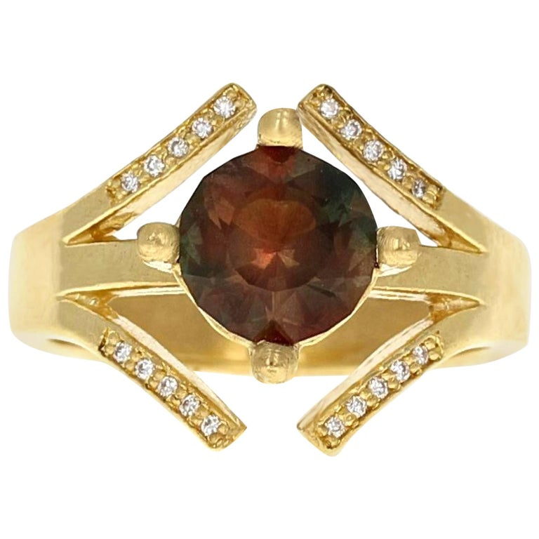 Athena Oregon Sunstone and Natural Pave Diamond Cocktail Ring