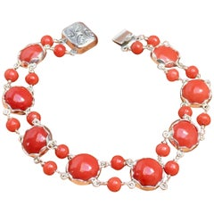 Red Coral Bracelet,Handmade, Italian Red Coral, Silver