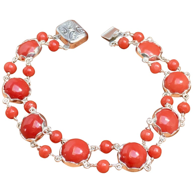 Red Coral Bracelet Handmade Italian Red Coral Silver