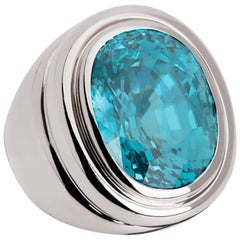 Certified 29.58 Carat Zircon White Gold Ring