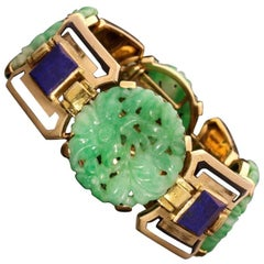 Art Deco Gold, Jade, Lapis Lazuli and Enamel Bracelet, Gerard Sandoz, circa 1928