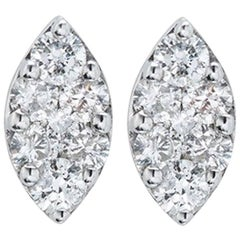 18 Karat White Gold Tear Drop Stud Earrings with 14 White Brilliants
