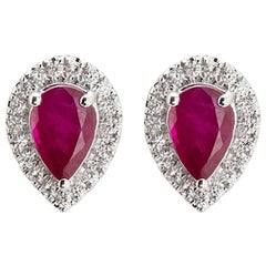 18 Karat White Gold Ruby white Brilliants Cluster Diamond Stud Earrings