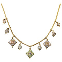 Antique Victorian Micro Mosaic Necklace 18 Carat Gold Gilt, circa 1895