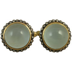 11.0 Carat Aquamarine Earrings, Rose Cut Diamonds, 1950s, Gold and Silver
