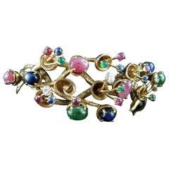 Vintage Tutti Frutti 14 Kt Gold Bracelet With Rubies Sapphires Emeralds Diamonds