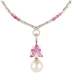 Ella Gafter Pink Sapphire Diamond and Pearl Flower Pendant Necklace
