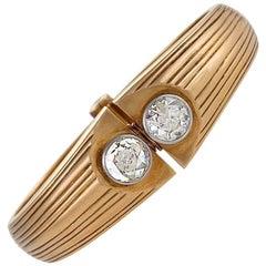 Retro Diamond and Gold Bangle Bracelet