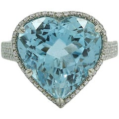 9.14 Carat Bez Ambar Heart Shaped Aquamarine and Diamond Ring