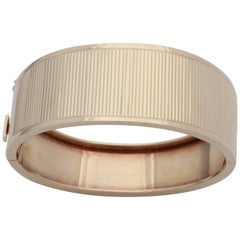 1940s Cool, Chic and Hip High Polish Ridged Gold Tapered Bangle Bracelet
