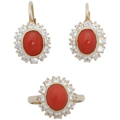 1950s Bezel Set Oval Coral with Diamonds Earrings and Ring Gold Ensemble Suite