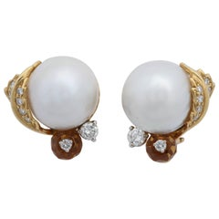 Seaman Schepps South Sea Pearl, Citrine with Diamonds Ball Design Post Earclips