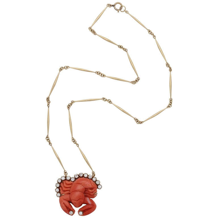 1950s Carved Coral Whimsical Lobster with Diamonds Pendant Gold Link Necklace