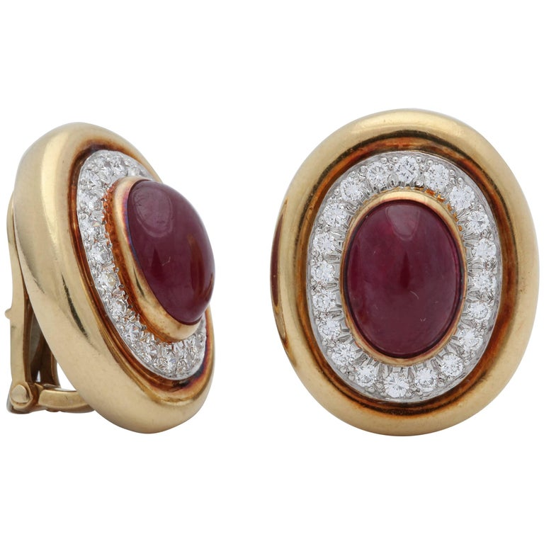 David Webb 1980s Oval Shaped Cabochon Ruby with Diamonds Gold Clip-On Earrings
