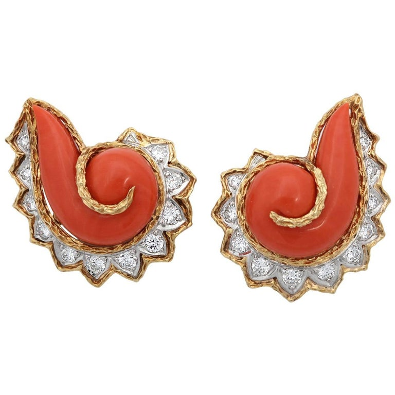 1960s Cornucopia  Coral  Diamond Gold Earrings