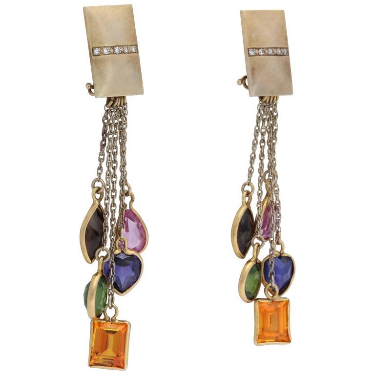 1960s Multicolored Semiprecious Stones, Diamond Multistrand Gold Dangle Earclips
