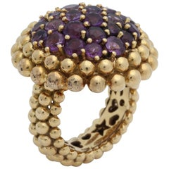 1960s Large Faceted Amethyst Cluster with Gold Pellets Unusual Cocktail Ring