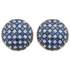 1950s Checkerboard Design Faceted Sapphires with Diamonds Gold Clip-On Earrings