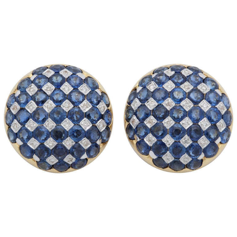 1950s Checkerboard Design Faceted Sapphires with Diamonds Gold Clip-On Earrings For Sale