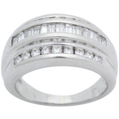 1950s Bombe Half Way Band Baguette with Round Cut Diamonds Platinum Ring