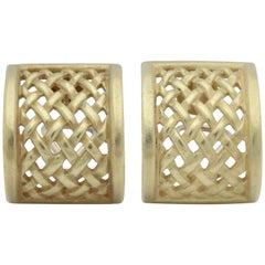 Barry Kiselstein Cord Unusual Basket Weave Pattern Gold Clip Back Earrings