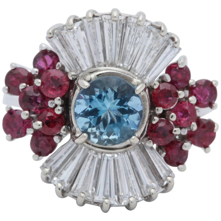 1950s Aquamarine, Ruby with Baguette Diamonds, White Gold Ballerina Fancy Ring For Sale