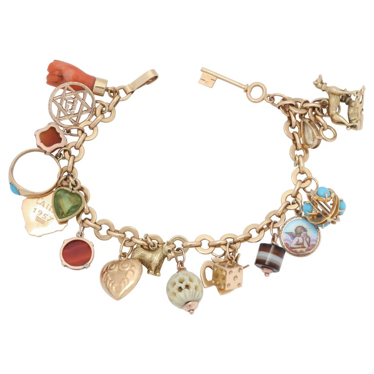 1950s Multicolored Stones 20 Lucky Charms Gold Link Bracelet
