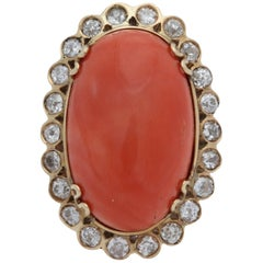 1950s Impressive Cabochon Oval Shaped Coral with Diamonds Gold Cocktail Ring