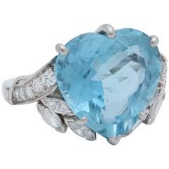 1950s Heart Cut Aquamarine with Marquis Cut, Round Cut Diamonds Platinum Ring