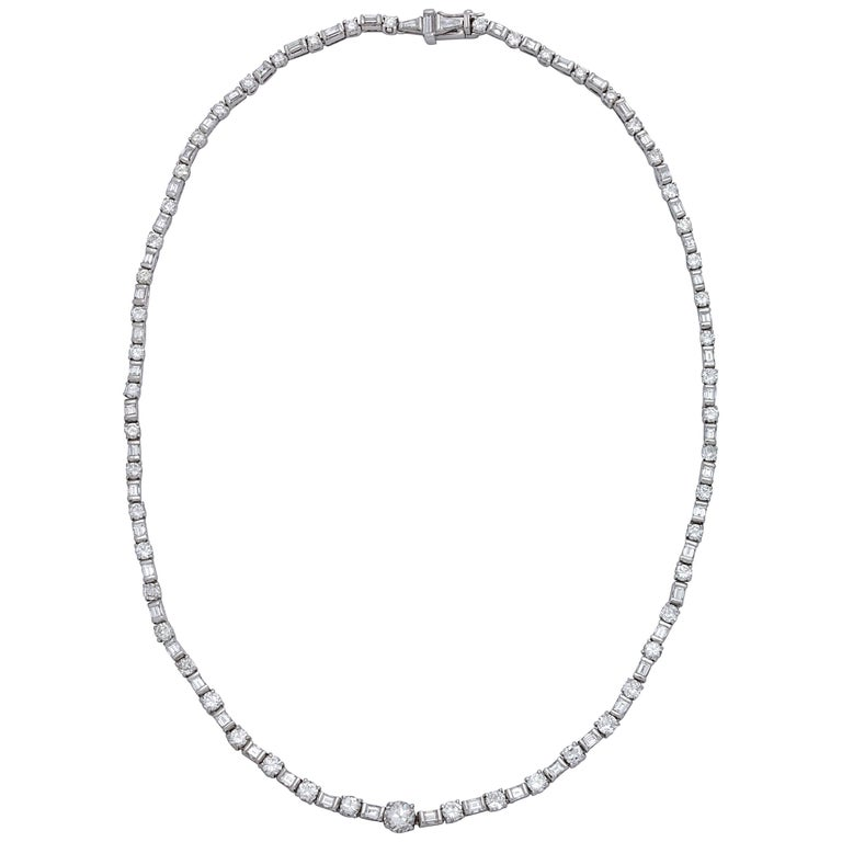 1950s Riviere Style Alternating Horizontal Baguette and Round Diamonds Necklace